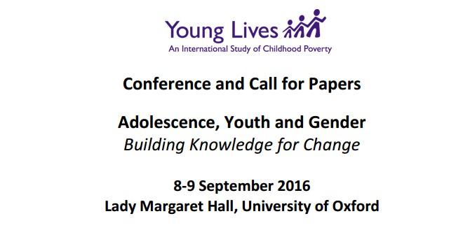 """Convocan a conferencia  """"Adolescencia, juventud y género: generando conocimiento para el cambio"""" (8-9 Septiembre 2016), Universidad de Oxford. Plazo hasta el 15 febrero 2016"""