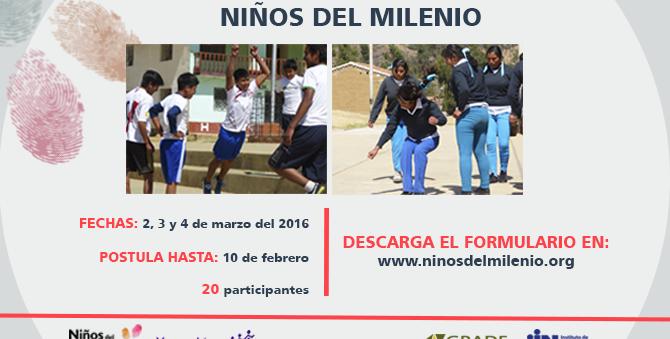 Taller Metodológico del estudio Niños del Milenio en Perú (2, 3 y 4 de marzo de 2016) Postula hasta el 10 de febrero de 2016